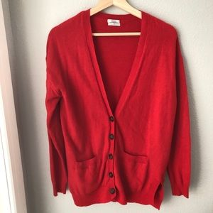 Wallace Madewell red wool blend cardigan
